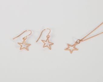 Set Rose Gold Plated Earrings And Necklace Star Rosegolden Starlet Star Earrings And Star Necklace