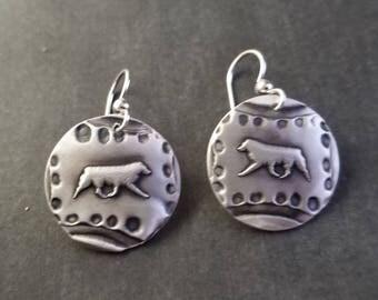 Fine Silver Aussie Earrings - Lg
