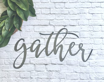 "Metal gather 23""x12""  Ready-to-ship word sign - gallery wall sign - steel sign"