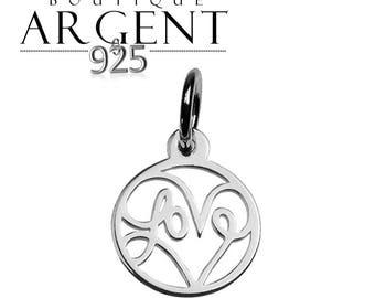 Round openwork charm love 15.2 mm 925 sterling silver love heart