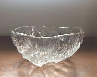 "Vintage Hoya Large 9"" Glass Crystal Bowl with Glacier / Iceburg / Ice Block Texture - Mid Century Japan, Scandinavian Style"
