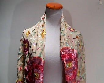 Manila Silk Embroidered Roses Fringed Shawl, c. 1930