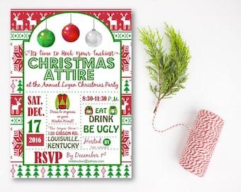 Tacky Christmas Holiday Party Invitation, Ugly Sweater Christmas Invitation, Ugly Sweater Invitation, Ugly Sweater Party, DIY or Printed