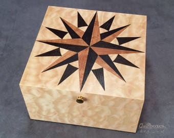 Mariner's Compass Quilt Block on a Wood Marquetry Keepsake Box by Quiltboxes