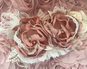 Rose gold couture headband, over the top bow, ott bow, baby headband, newborn headband, blush headband, hair bow, baby bow