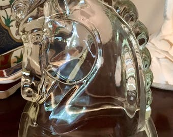 Vintage Art Deco Mid Century Modern Clear Hollow Pressed Glass Horse Head Bookend Federal Glass Co. Horse Head Home Decor