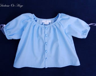 Blouse sleeves balloon in blue cotton - 3 years old child