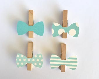 Donu0027t Say Baby Clothespins Blue Bow Ties Baby Shower Decoration Games Clips  Pin Birthday