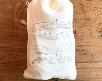 Music Sheet Favor Bag Teacher Muslin Bag Baby Shower Gift Bag Country Wedding Welcome Rustic Birthday Gift Thank You Jewelry Soap