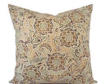 15% OFF SALE Two Damask Pillow Covers - Blue Green Yellow Pillows - Neutral Pillow Sham - Cream Pillow - Custom Pillow - 16 Inch Pillow - 18