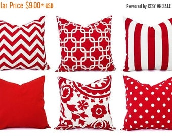 15% OFF SALE One Decorative Pillow - Red and White Pillows - Pillow Cover 20x20 Inch - 16 In Red Throw Pillow - Red Pillow - Red Chevron - R