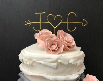 Arrow and Initials Cake Topper - Wire Cake Topper - Gold Wedding Cake Topper  - Arrow Cake Topper - Personalized Cake Topper - Cake Topper