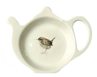 Wren Teabag Tidy - Christmas Gift - Bird Gift - Fine Bone China - Afternoon Tea - Made in England - Woodland Theme