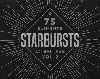 Set of 75 Retro Starbursts elements Vol. 2 - Clean lines version  - Vintage starbursts - Vector & PNG - Digital graphics - digital download