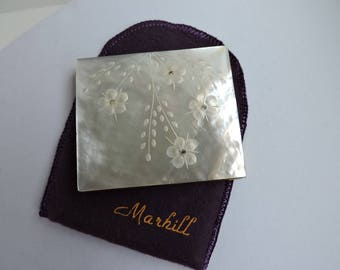 Vintage Mother of Pearl Pressed Powder Compact | Marhill Carved Flowers Design | Gold Collectible Cosmetics Purse Case | GreenTreeBoutique