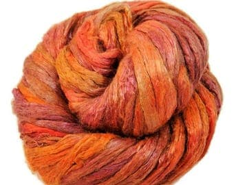 SALE Mulberry Silk roving, hand dyed (Sunset)