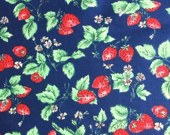 Scandinavian vintage fabric mod strawberry fabric. Floral pattern Svedish design. 70s Retro fabric, floral print sewing quilting fabric
