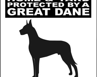 "GREAT DANE Dog Sign 9""x12"" ""ALUMINUM"" H2496GDV2"