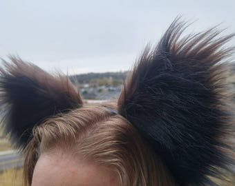 Raccoon Costume Ears by AnthroWear - Furry Adjustable Cosplay Accessories - Hand Made in USA