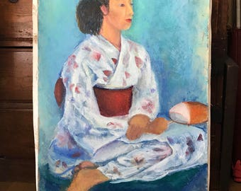 Huge vintage Japanese oil painting - woman in kimono with fan figure painting