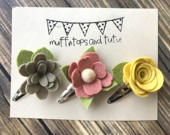 Felt flower clips - READY TO SHIP - snap clips - hair clips