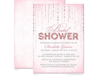 Pink Glamour Bridal Shower Invitations - Printed Bridal Shower Invitations - Professional Printing