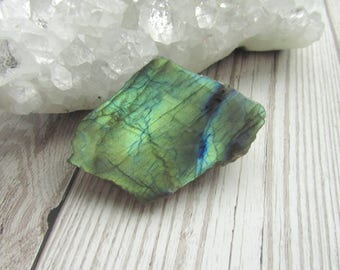 Labradorite One Side Polished, One Side Rough Specimen, Raw Rough Gemstone #02