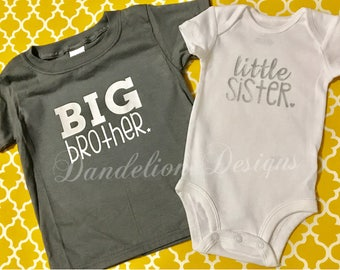 Big Brother Little Sister New Baby Set Sissy Bubba New Brother New Sister Gift