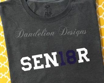 Class of 2018 Shirt Grad Graduation '18 Congratulations Senior Class School Colors Glitter Custom SEN18OR