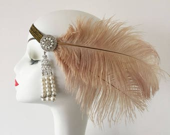 Ostrich Feather Fascinator Hair Clip Headband Gatsby Party Wedding Head Dress