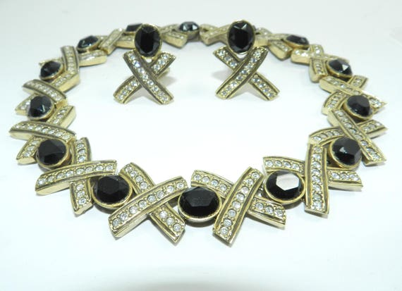 """Valentino """"Vc"""" Chunky Necklace, Runway Necklace, Couture Necklace, 80s Vintage Jewelry, Collectible Vintage Fashion Vintage"""