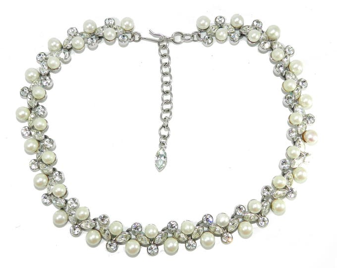 Vintage CRYSTAL Pearl Necklace, Bridal Ball Prom Necklace, Fashion Jewelry Jewellery, Statement Runway Necklace, Ladies Accessories