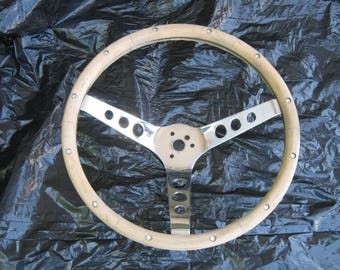Real Nice Vintage 1960s Wooden Three Chrome Spoke Steering Wheel Chevy Ford Dodge Hot Rod Rat Rod