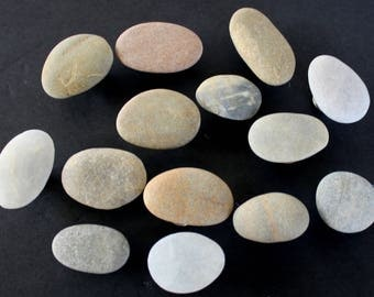 Beach Stone Knobs All Natural Rock Cabinet Drawer Pulls / Select your Finish
