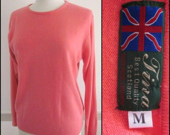 Tina Cashmere Sweater / Scottish Cashmere Sweater / Peach Cashmere Sweater / fits M-L / Mango Cashmere Sweater