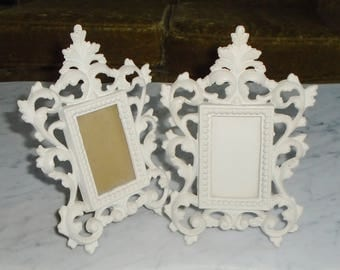 2 Vintage Cast Metal JM54 Iron Art Decorative Picture Frames - 8 1/4x5.5in, holds 3.5x2in pic