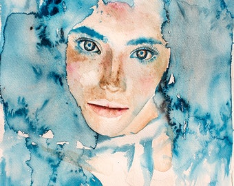 Original Watercolor Painting. Portrait of young lady. Woman. Music in her flesh. Kind of Blue.