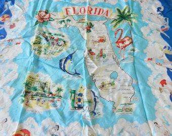 Vintage Souvenir Florida Scarf, Flamingos Map Palm Trees Fish Print Scarves