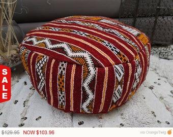 Sale -  Moroccan Kilim Pouf Floor Pillow Berber Upcycled Handmade Decorative Rug Ottoman Pouf 03YL0415