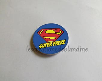 "special magnet ""super brother"" it measures 5.8 cm in diameter, customizable"