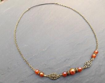 """headband/headband """"cornelia"""" carnelian beads"""