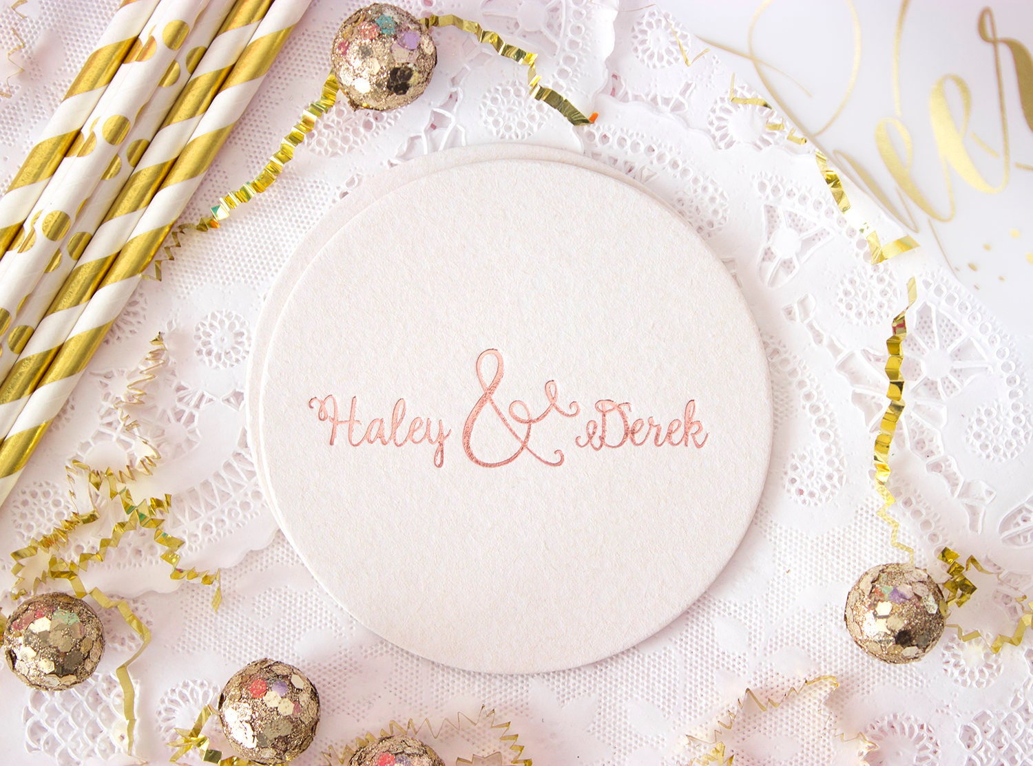 Wedding Coaster, Rose Gold Foil, Personalized Coasters, Custom ...