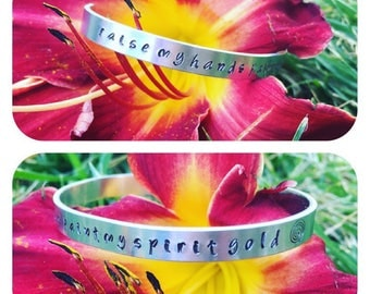 "Mumford & Sons hand stamped aluminum bracelet cuff with lyrics ""raise my hands paint my spirit gold"""