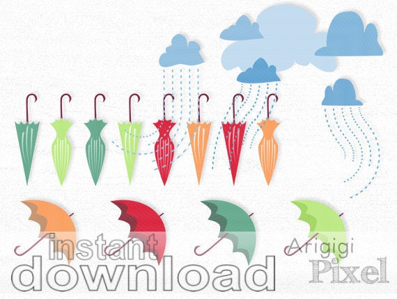 Umbrellas and Clouds with Showers Clip Art Set of 12, digital image, colorful clipart, spring scrapbooking, images download