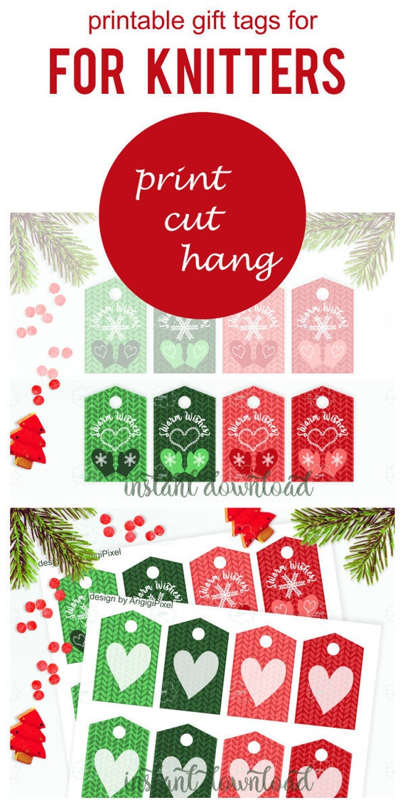 Printable tags for knitted gifts - Warm Wishes tag - Christmas tags
