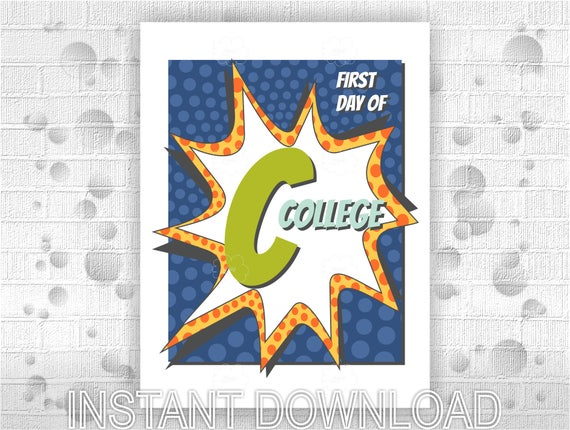 Printable poster First Day of College - instant download