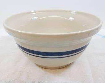 Friendship Pottery 2 quart Dough Mixing Bowl Roseville Ohio Cream Blue Bands Discontinued Vintage USA