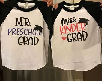 Graduation t-shirts for preschool and kindergarten (boy or girl)