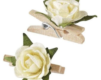Mini Rose clips, 12 pieces, 2.5 cm