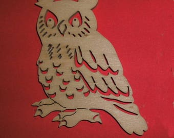 1 owl, wood, 26 x 19.5 cm  (10-0008B)